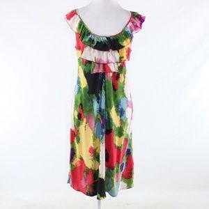 Anthropologie green silk shift dress 12